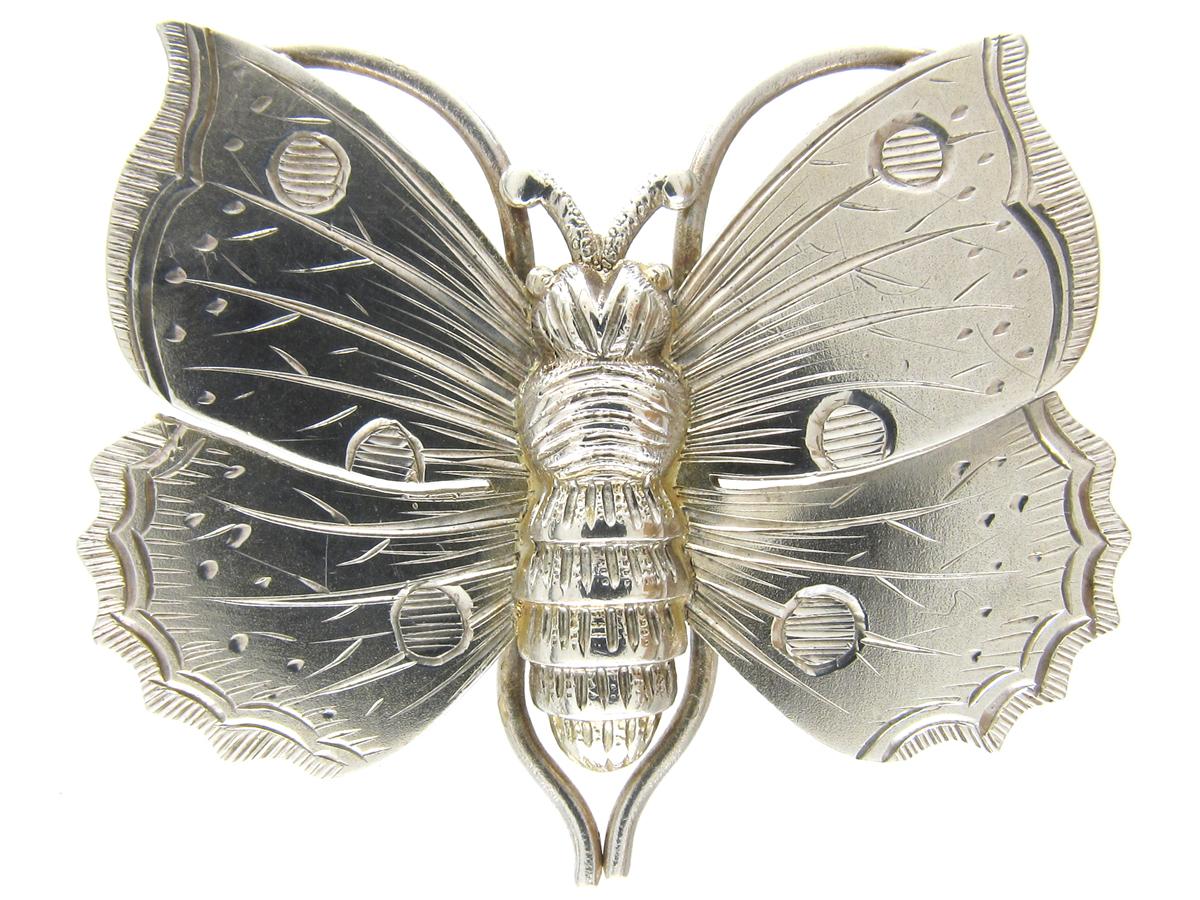 Victorian Silver Butterfly Brooch
