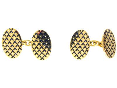 18ct Gold White & Blue Enamel Oval Cufflinks