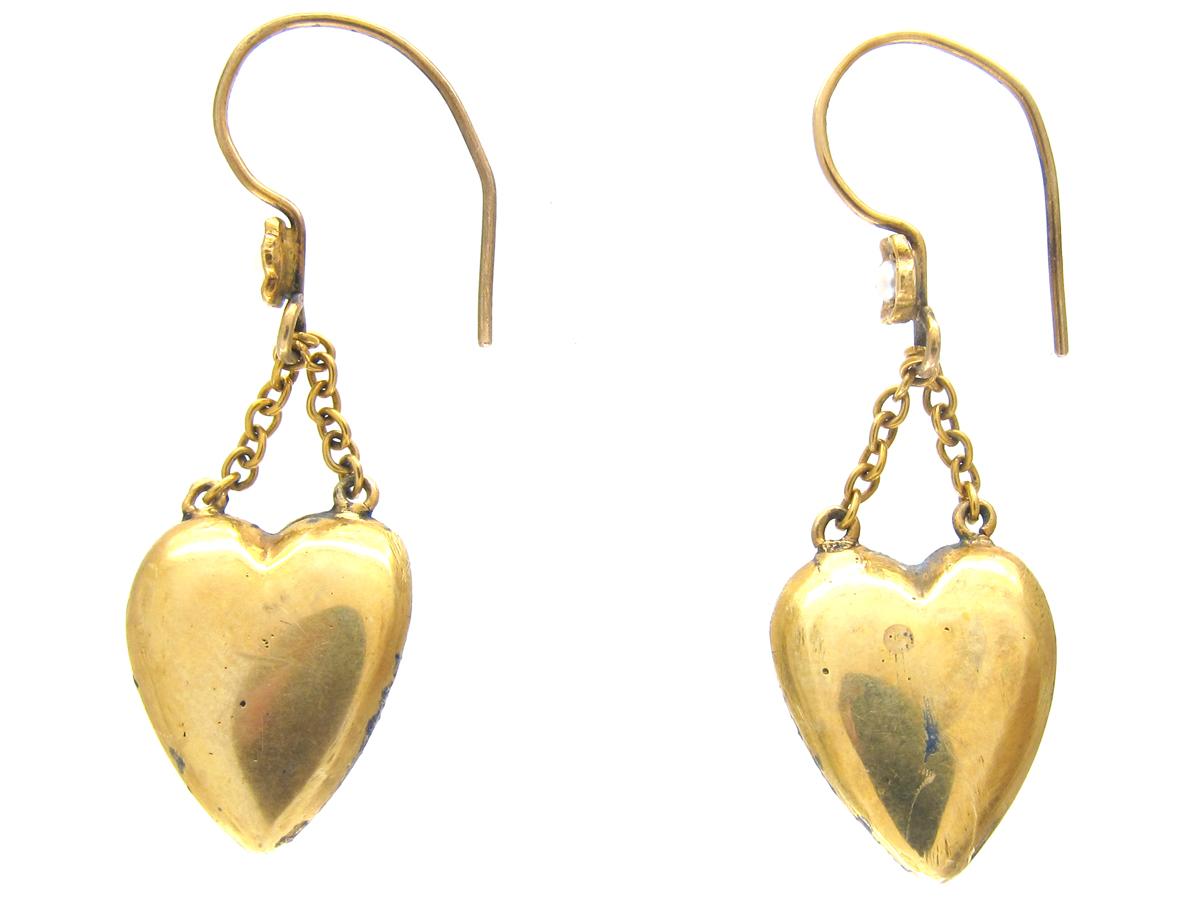 Edwardian Blue Enamel & Natural Split Pearl Heart Shape Drop Earrings