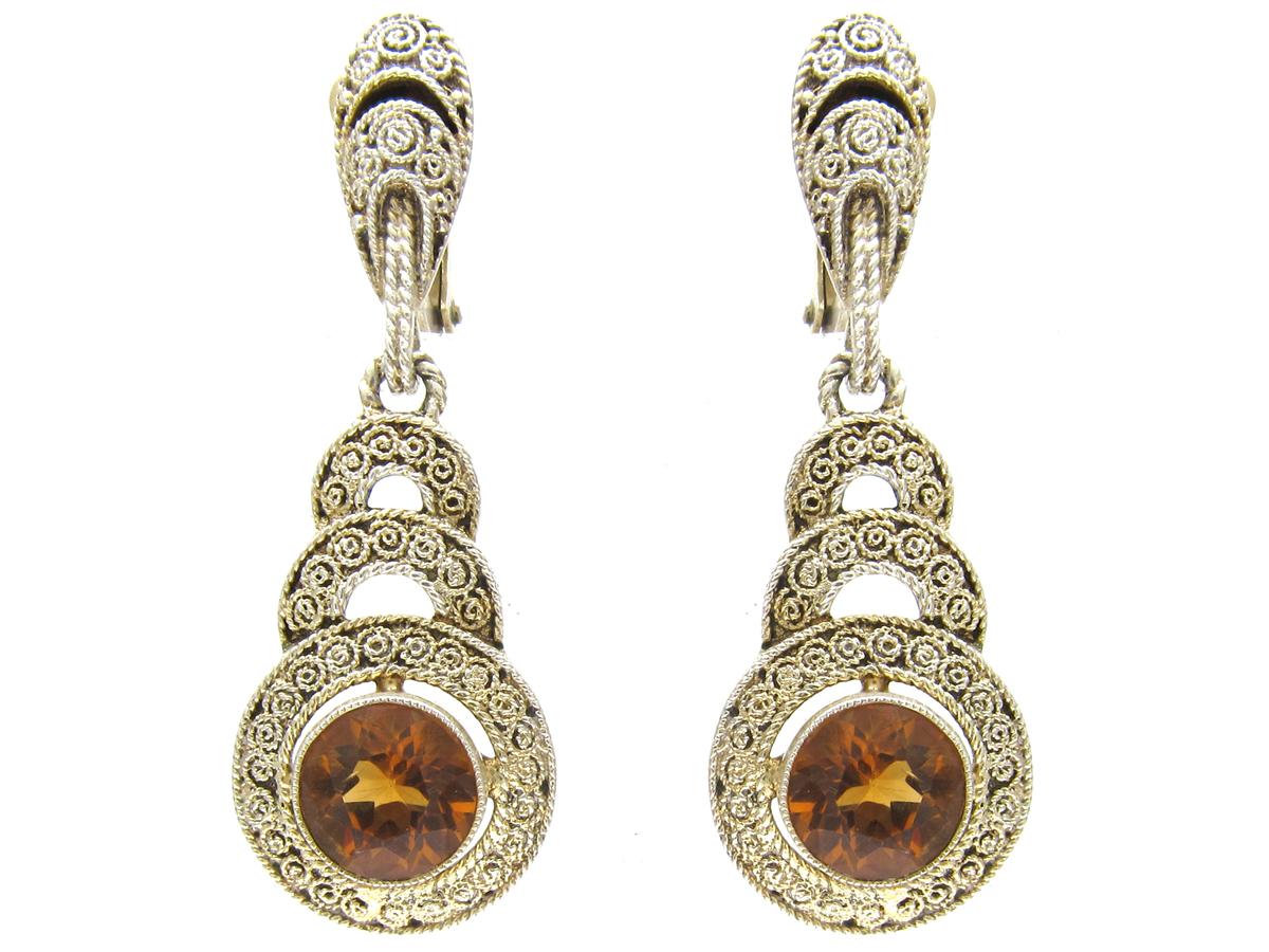 Theodor Farhner Silver & Citrine Earrings