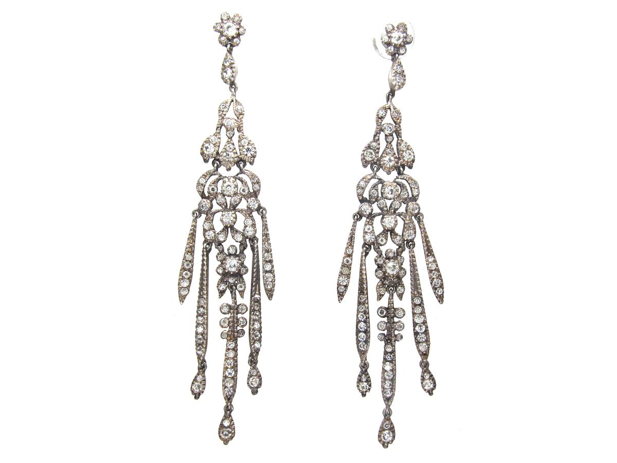 Long Drop Silver & Paste Tassel Earrings
