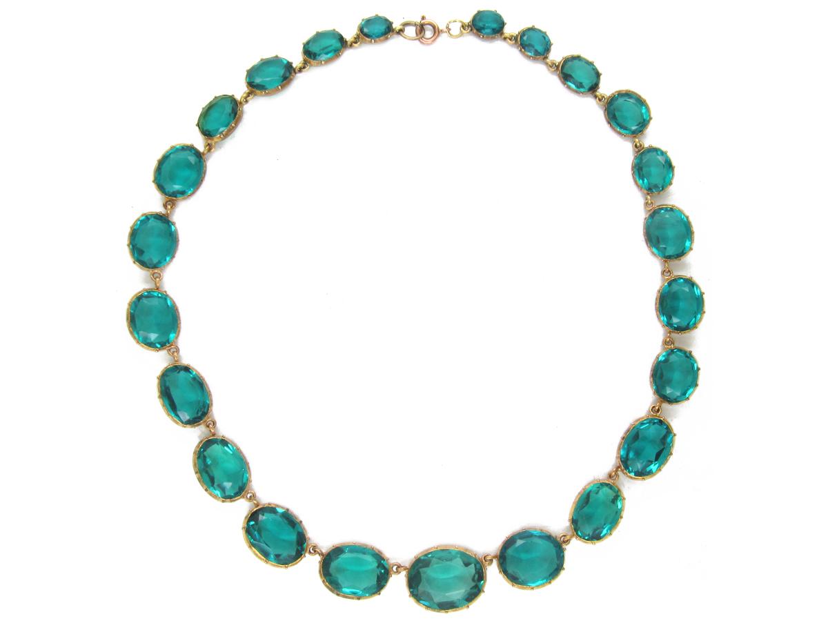 Georgian Graduated Green Paste Necklace