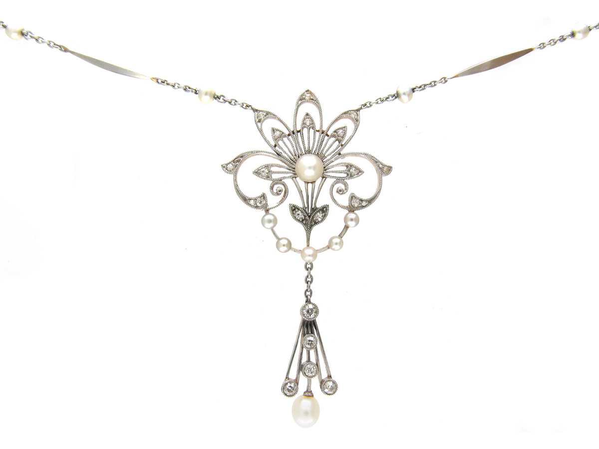 Edwardian Natural Pearl & Diamond Pendant on Platinum & Natural Pearl Chain