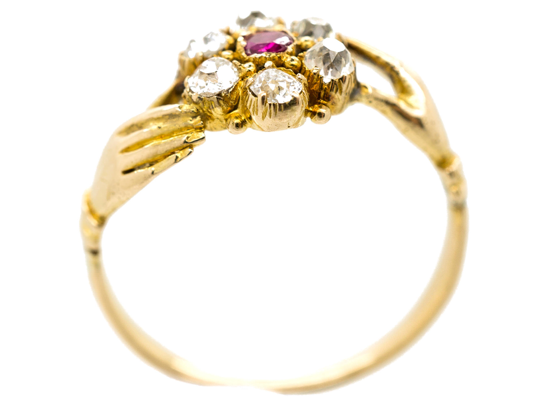 Georgian Two Hands Ring with Central Ruby & Diamond Flower Cluster