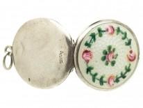 Edwardian Silver & Enamel Roses Locket