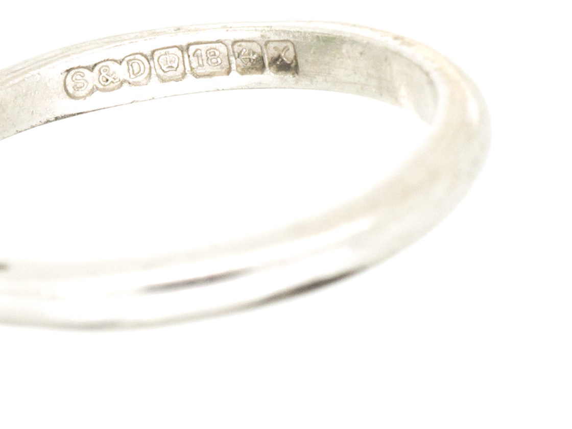 18ct White Gold Tourmaline & Diamond 1950s Ring