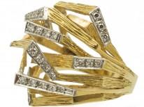 18ct Gold & Diamond 1970s Openwork Ring
