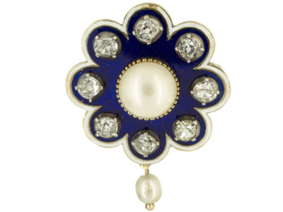 Victorian 15ct Gold Royal Blue Enamel, Old Mine Cut Diamond & Natural Pearl Brooch