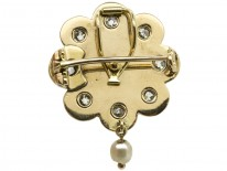 Victorian 15ct Gold Royal Blue Enamel, Old Mine Cut Diamond & Natural Pearl Brooch