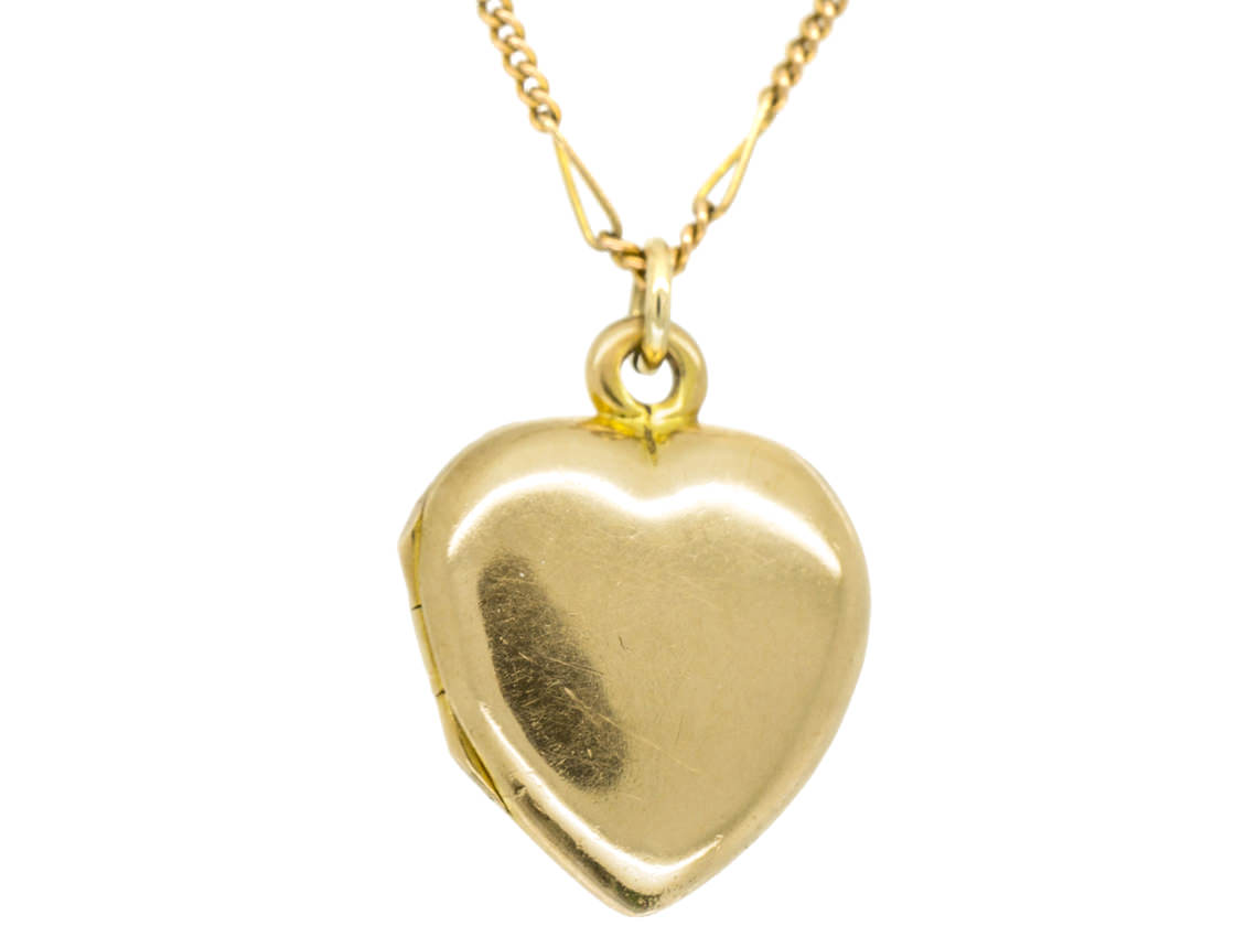 18ct Gold Edwardian Heart Locket set with the Letter M in Diamonds on a Gold Chain