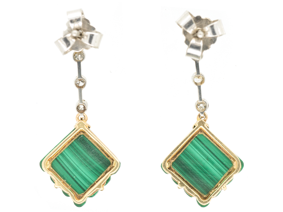 Art Deco Diamond & Malachite Drop Earrings