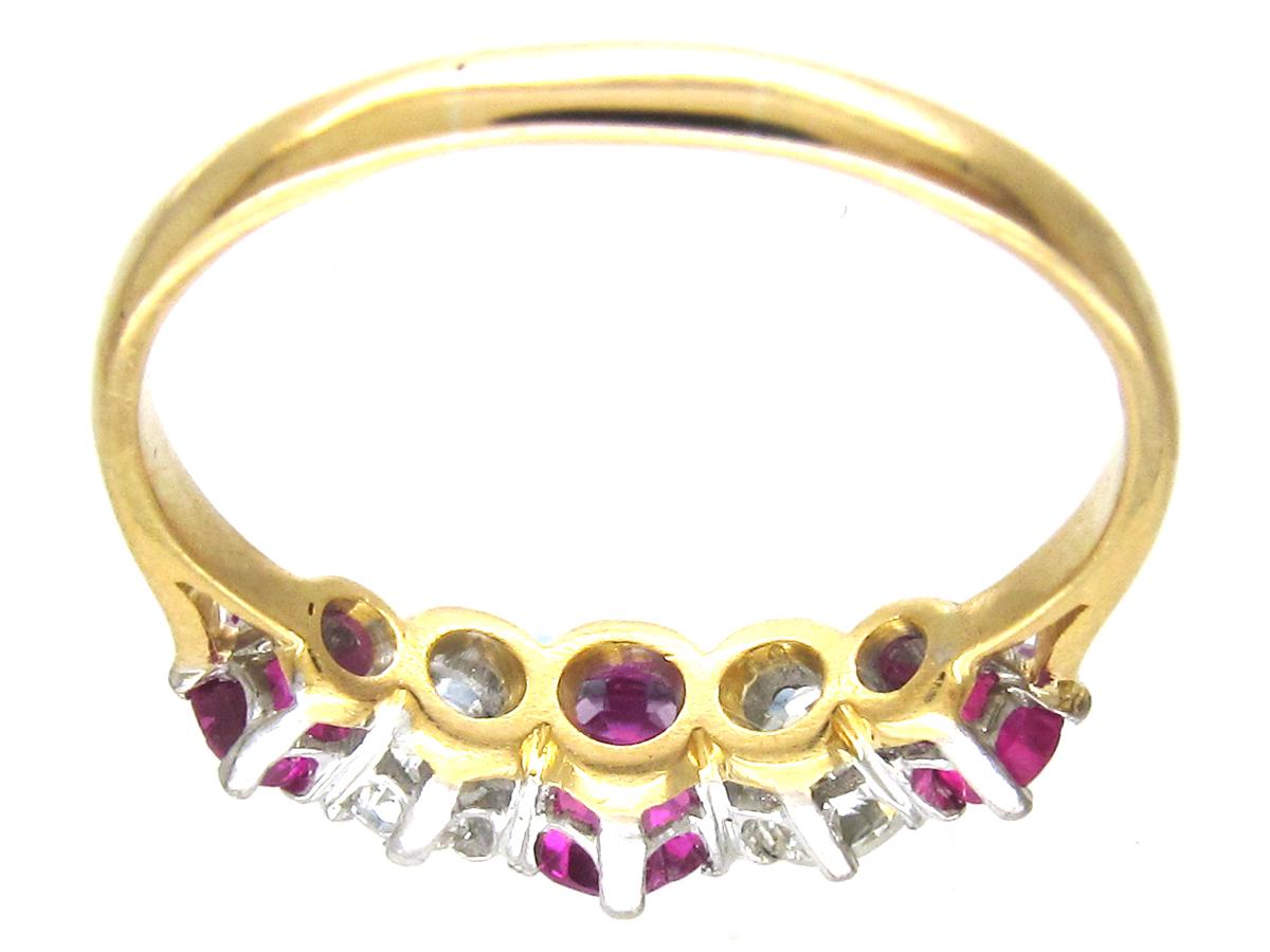Edwardian 18ct Gold & Platinum Ruby & Diamond Five Stone Ring