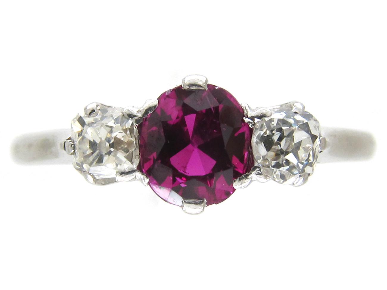 Art Deco Ruby & Diamond Three Stone Ring