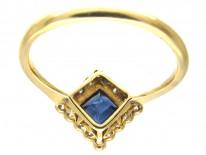Art Deco Sapphire & Diamond Diamond Shaped Ring