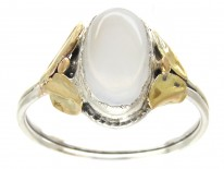 Silver & Gold Arts & Crafts Moonstone Ring