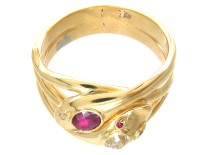 Victorian 18ct Gold Ruby & Diamond Double Snake Ring