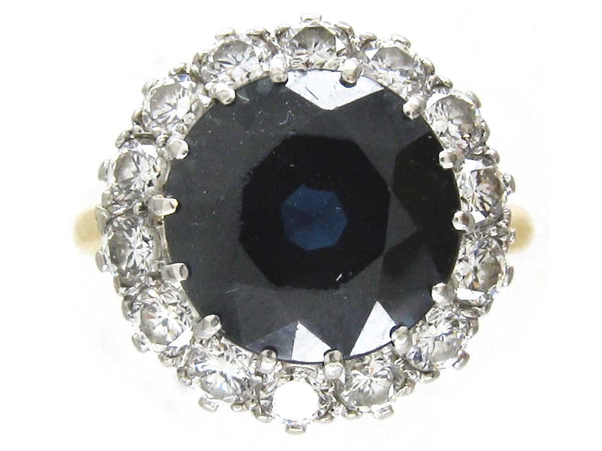 Large Sapphire & Diamond Cluster Ring