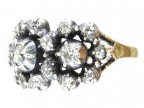 Georgian Diamond Triple Cluster Ring