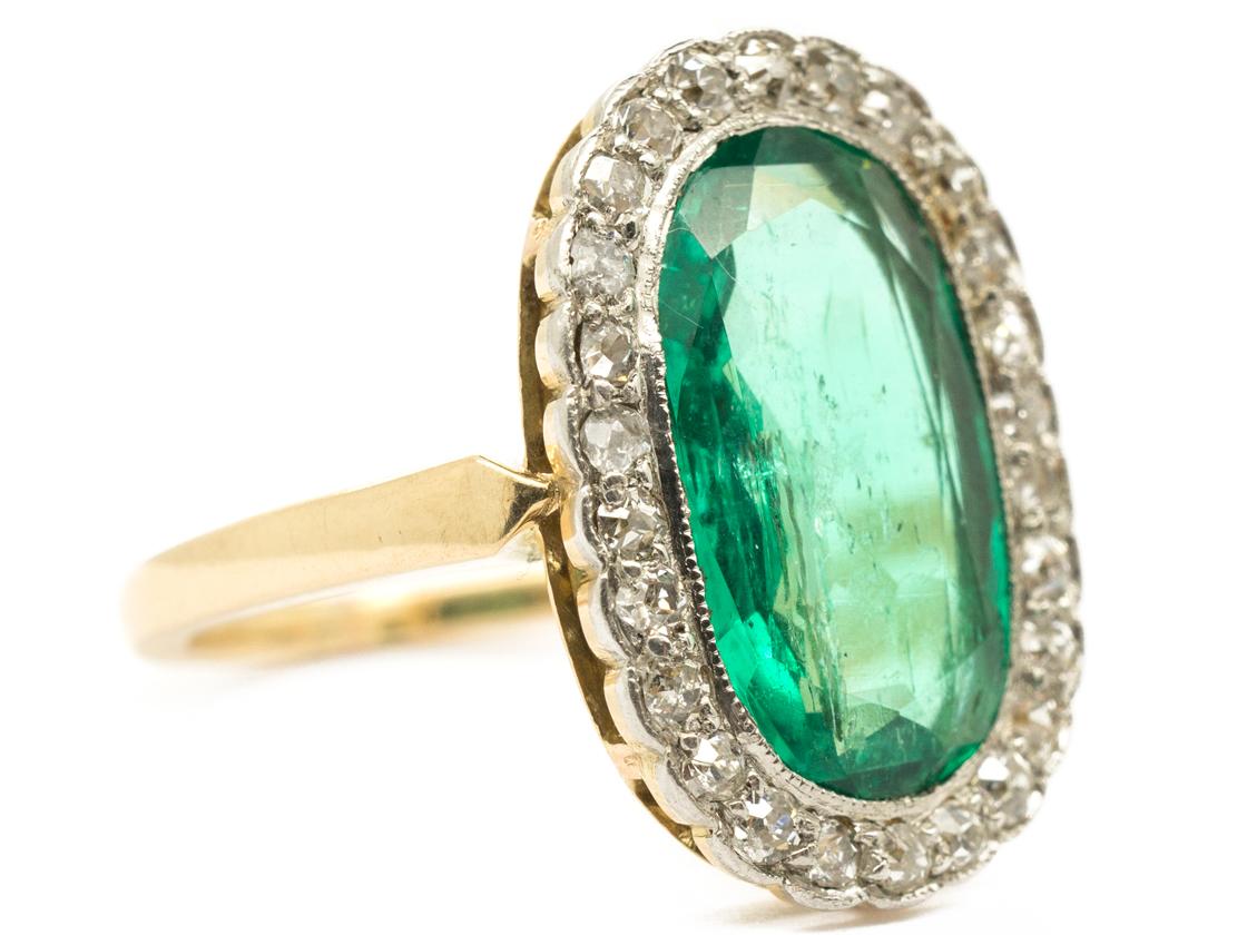 Edwardian 18ct Gold Oval Emerald & Diamond Ring