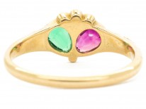 Georgian Emerald, Ruby & Diamond Double Crowned Heart Ring