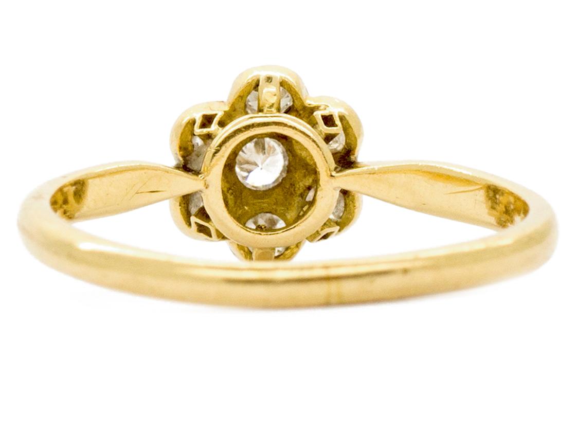Edwardian 18ct Gold & Diamond Daisy Ring