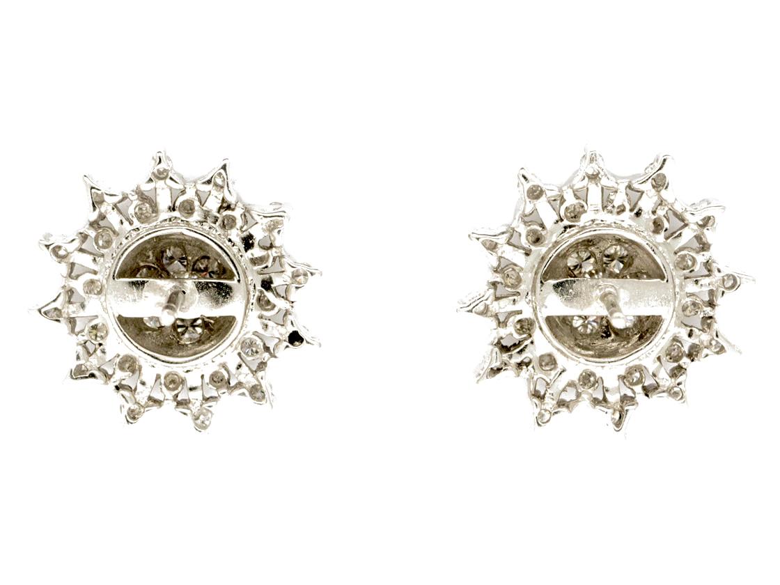 18ct White Gold & Diamond Snowflake Earrings
