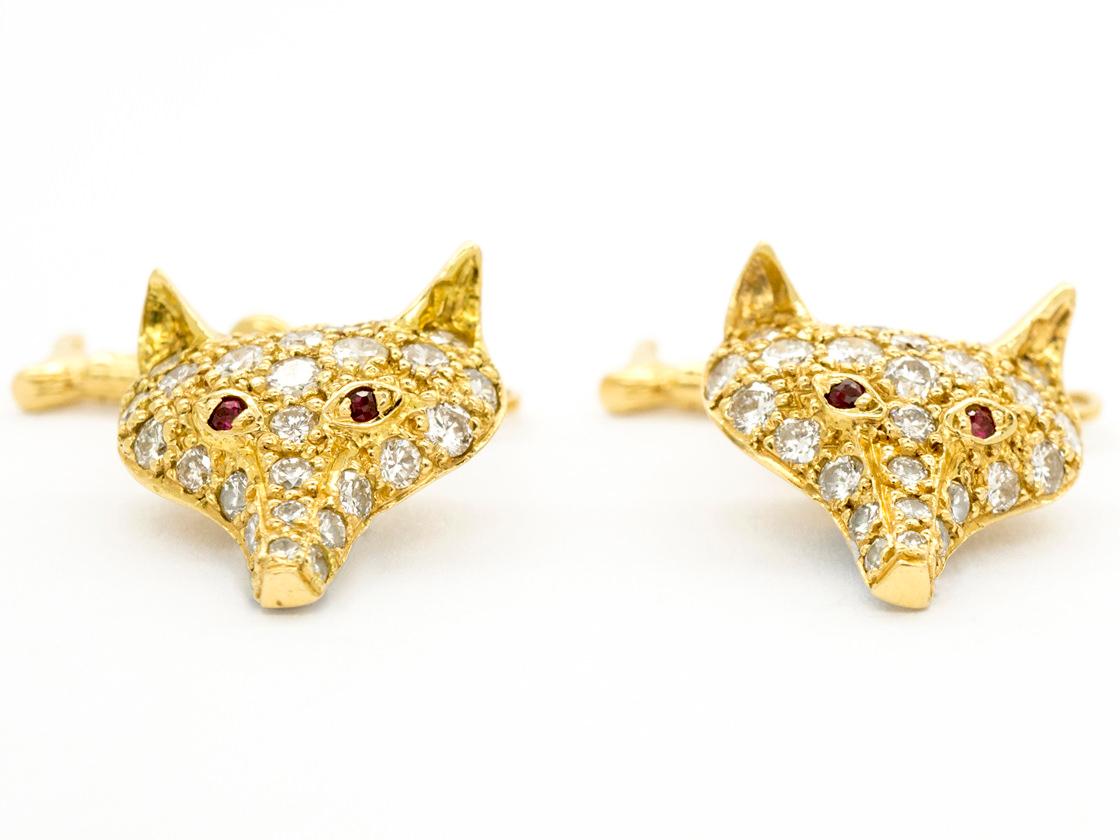 Diamond & Ruby 18ct Gold Fox & Whip Cufflinks