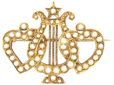 Edwardian 18ct Gold Double Heart & Lyre Split Pearl Brooch
