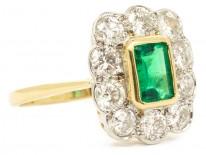 18ct Gold Emerald & Diamond Rectangular Art Deco Ring