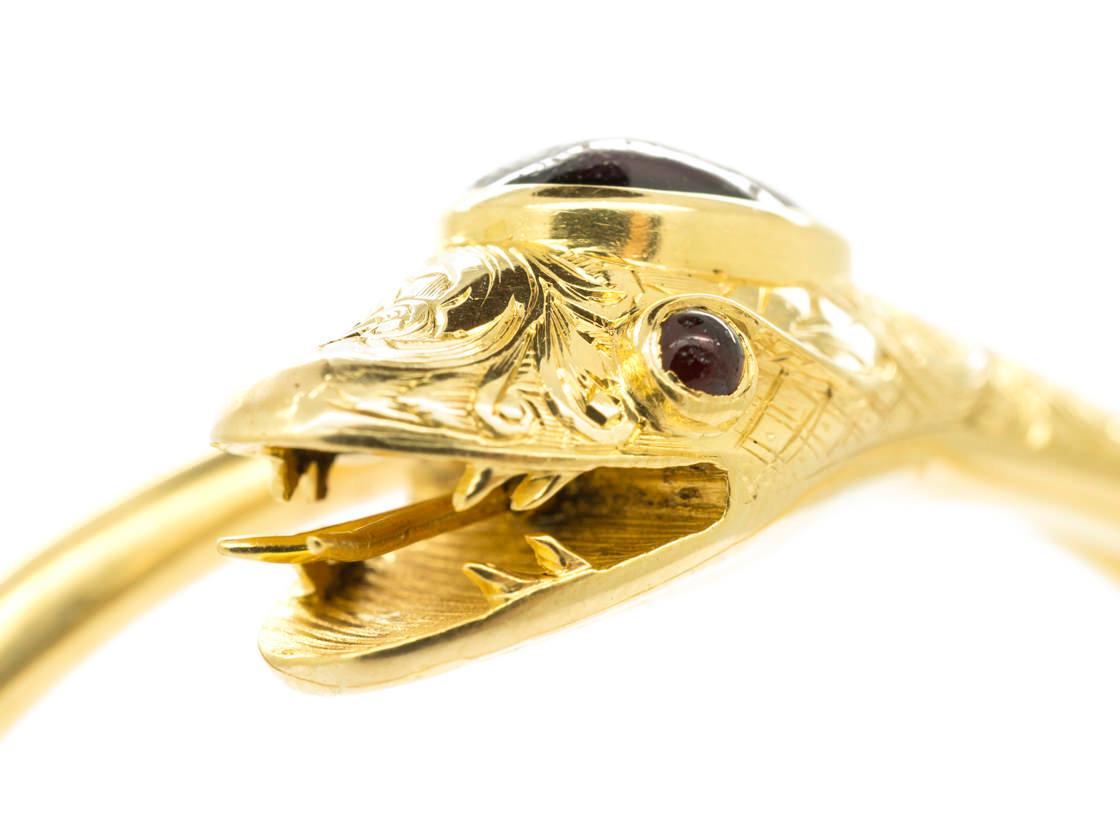 Victorian 15ct Gold & Garnet Hinged Snake Bangle