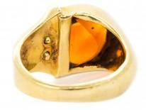 Retro 18ct Gold Citrine & Diamond Cocktail Ring