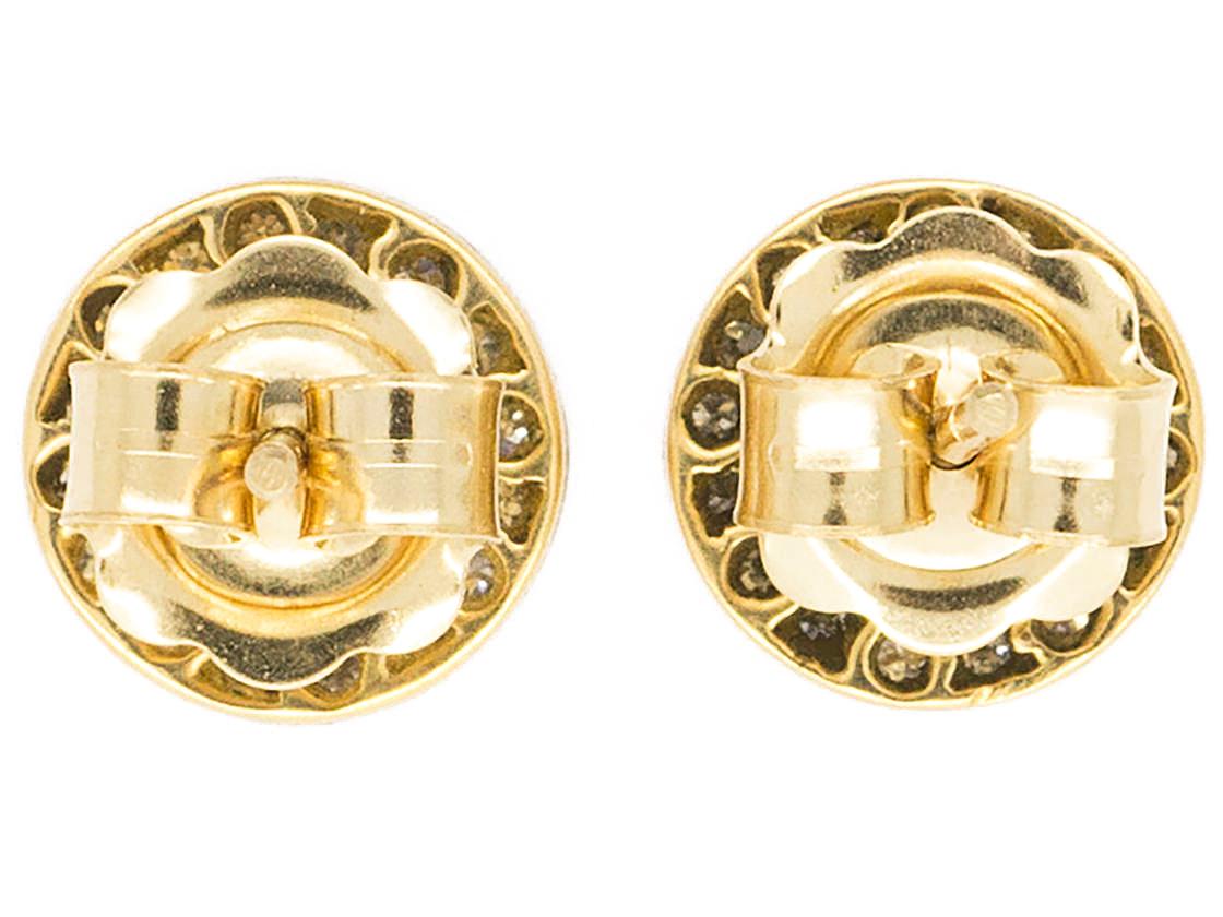 Art Deco Onyx & Diamond Round Earrings