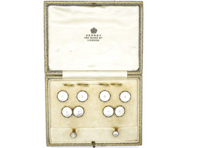 Art Deco 9ct Gold , Black Enamel, Natural Pearl & Mother of Pearl Dress Set in Asprey Case