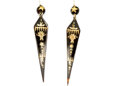 Victorian Tortoiseshell Pique Drop Spear Shaped Earrings