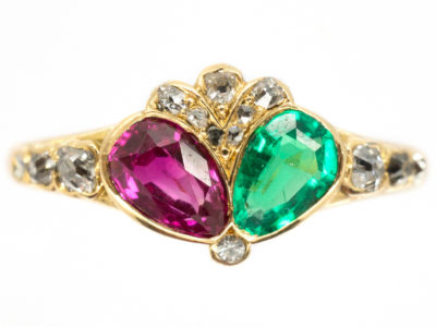 Georgian Emerald, Ruby & Diamond Double Crowned Heart Ring