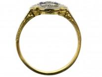 Art Deco Quatrefoil Diamond & Sapphire Ring