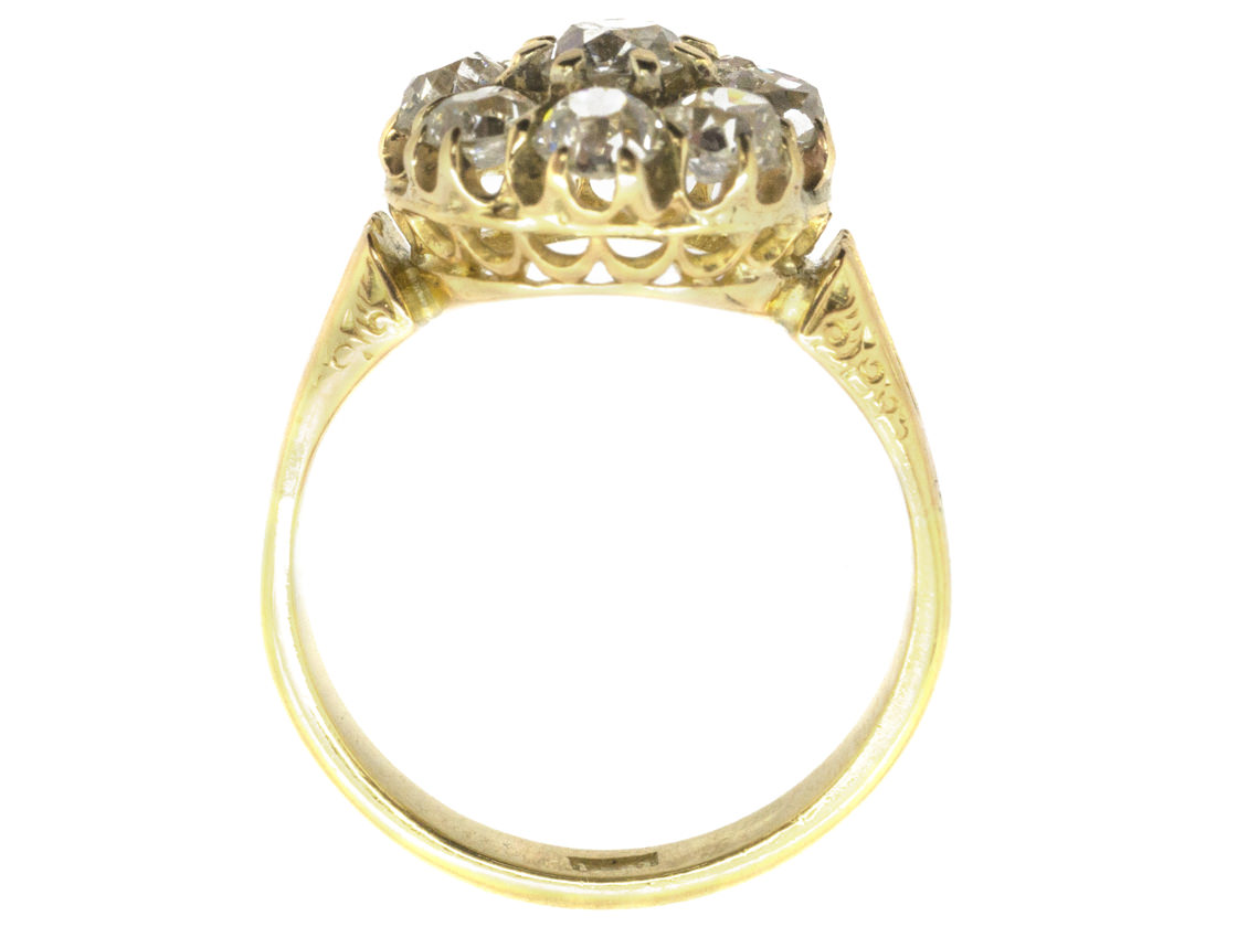 Victorian 18ct Gold Diamond Cluster Ring