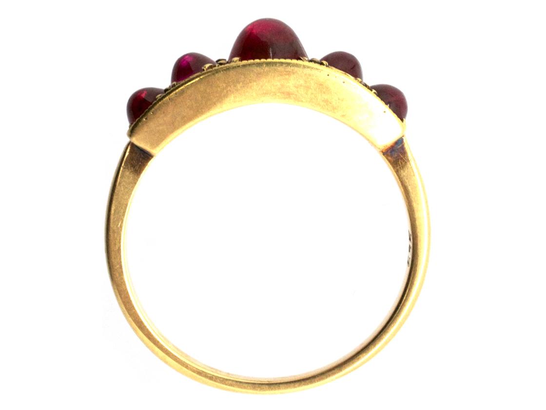 Edwardian Five Stone Cabochon Ruby Ring