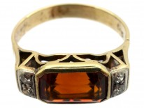 Retro 14ct Gold, Rectangular Madeira Citrine & Diamond Ring