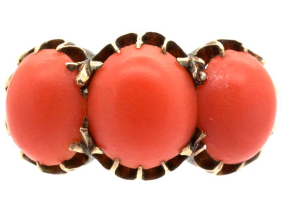 Victorian 18ct Gold & Coral Ring