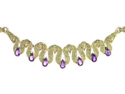 Theodor Farhner Silver Gilt & Amethyst Necklace