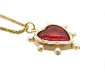 Edwardian Red & White Enamel & Natural Pearl Heart Pendant on 18ct Gold Chain