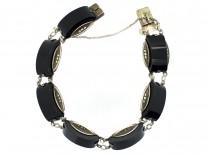 Art Deco Silver Onyx & Marcasite Bracelet