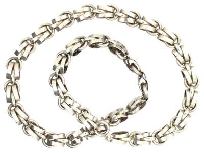 Silver Interwoven Chain Necklace