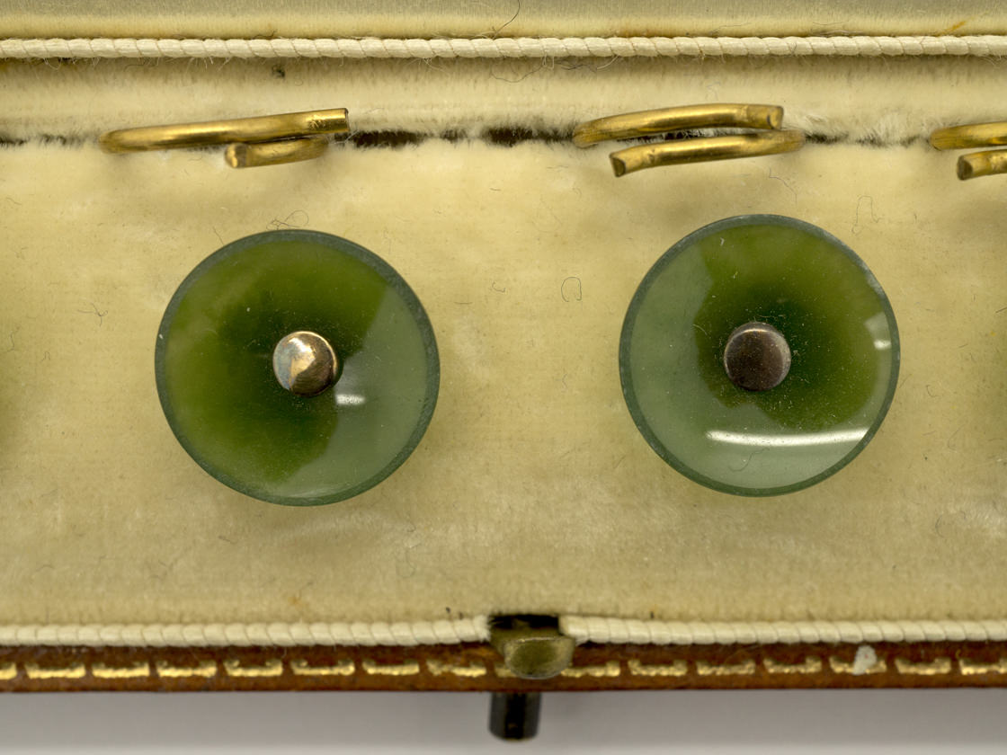 Edwardian Set of Six Nephrite Buttons in Original Case
