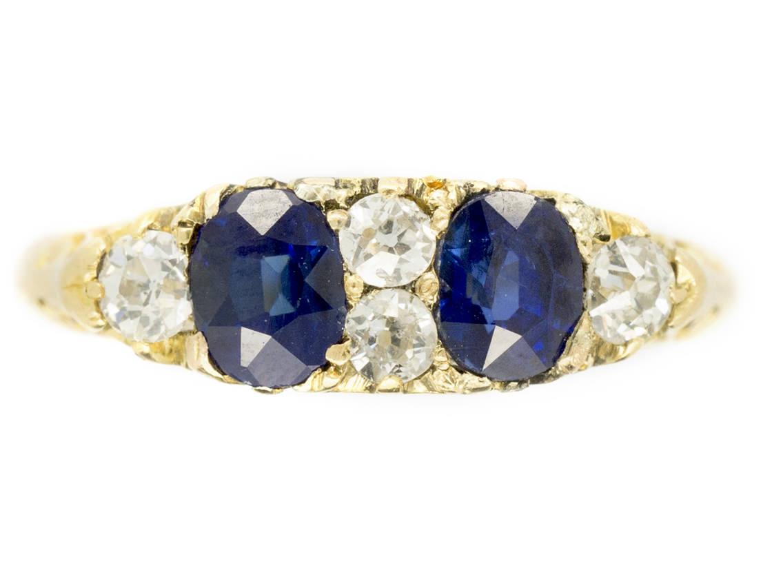 Victorian 18ct Gold Two Stone Sapphire & Diamond Ring