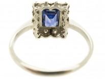 Art Deco Rectangular Sapphire & Diamond Ring