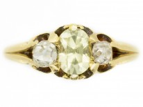 18ct Gold Victorian Chrysolite & Diamond Ring
