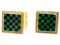 18ct Gold Connemara Marble & Onyx Chequerboard Cufflinks by West of Dublin
