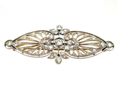 Edwardian 15ct Gold & Platinum Openwork Diamond Brooch